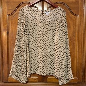 Esley Pleated Sleeve Cat Print Blouse